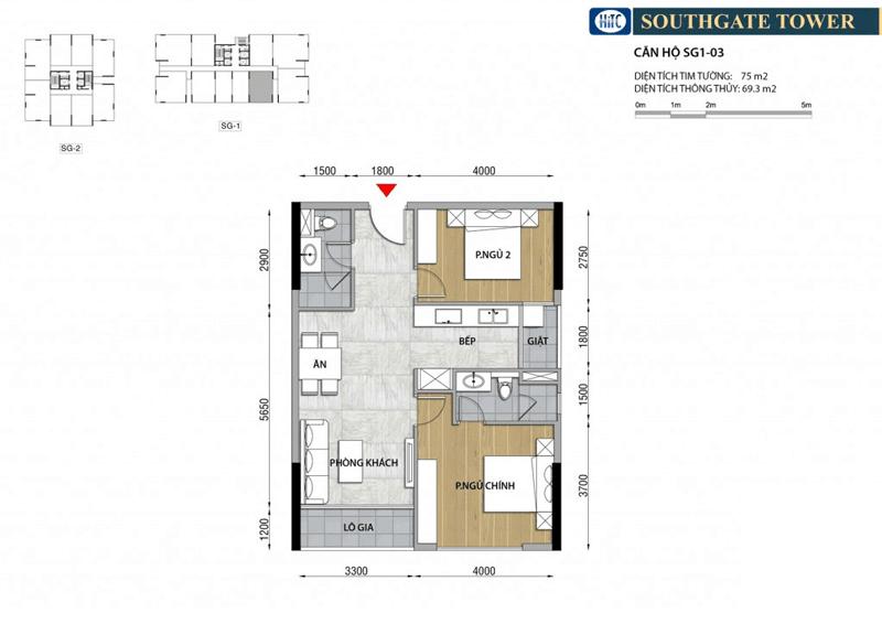 Thiết kế Căn hộ 2 phòng ngủ South Gate Tower Quận 7