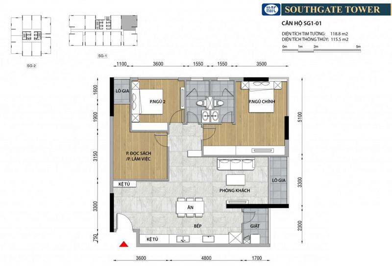 Thiết kế Căn hộ 3 phòng ngủ South Gate Tower Quận 7