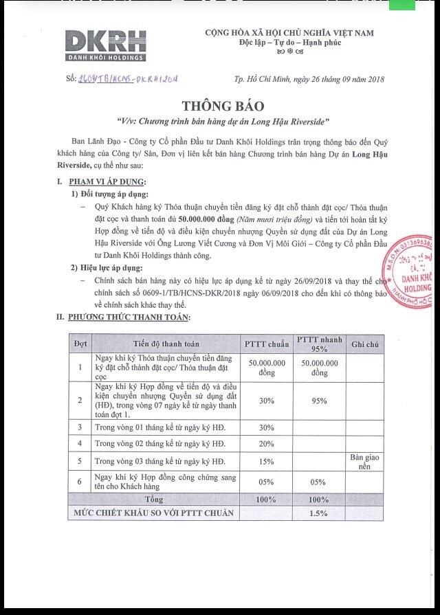 chinh sach ban hang du an long hau riverside - DỰ ÁN LONG HẬU RIVERSIDE