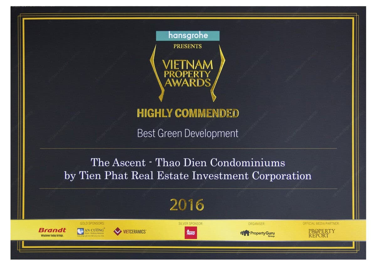 Vietnam Property Award 2016 Ascent Thảo Điền - ASCENT PLAZA NƠ TRANG LONG