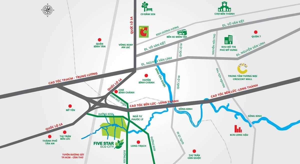 ban do vi tri du an du an five star eco city - DỰ ÁN FIVE STAR ECO CITY