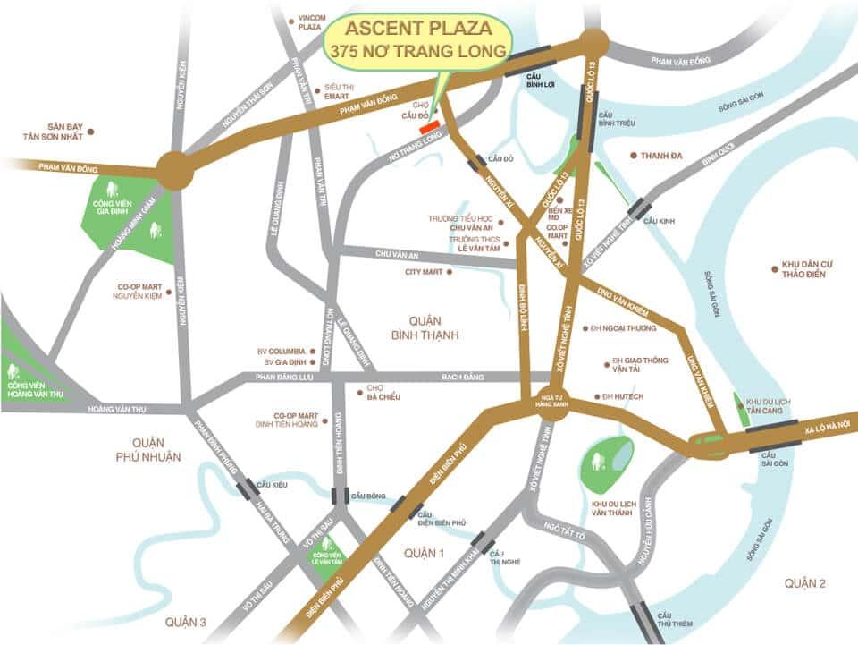 vị trí ascent plaza nơ trang long - ASCENT PLAZA NƠ TRANG LONG