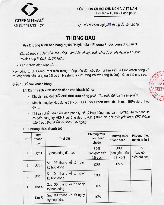 chuong trinh ban hang du an maylandia - DỰ ÁN MAYLANDIA QUẬN 9