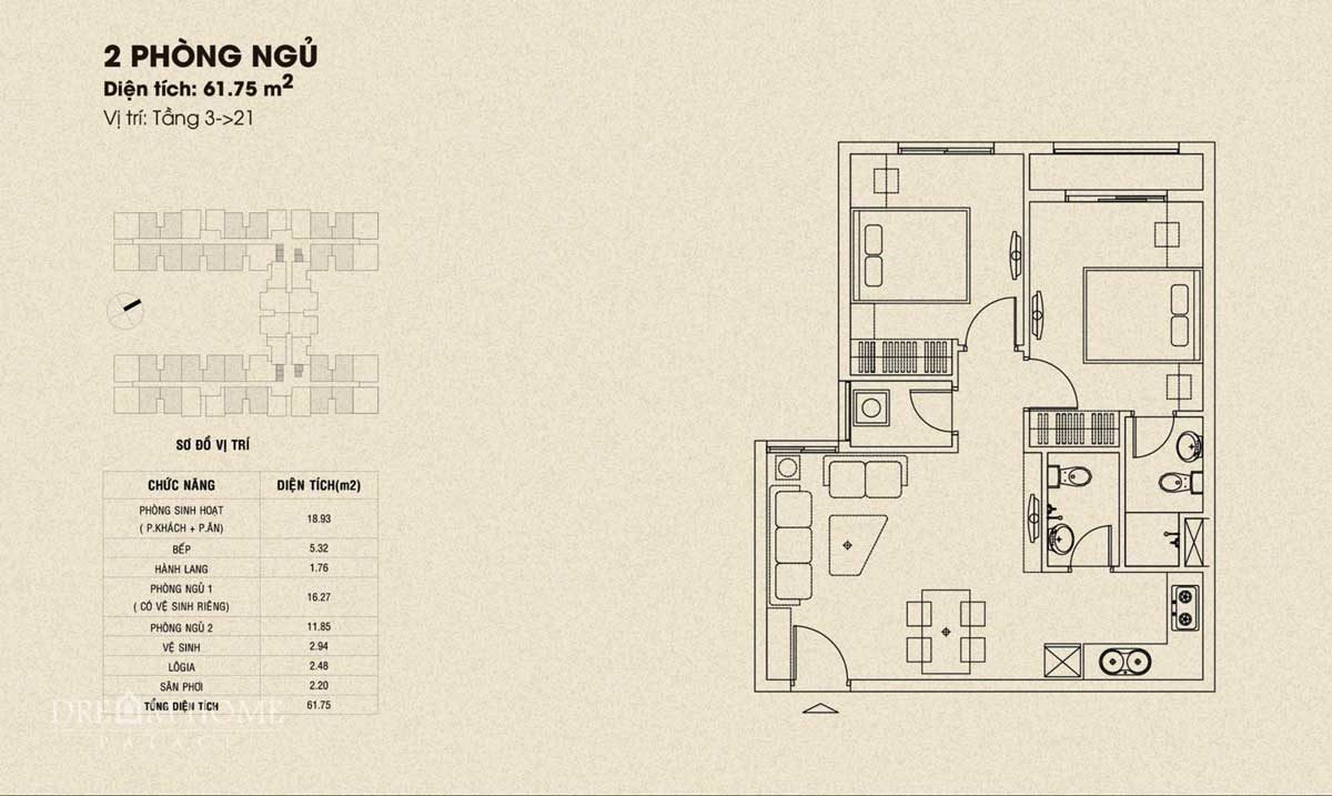 thiet ke can ho dream home palace 2 phong ngu - DỰ ÁN CĂN HỘ DREAM HOME PALACE