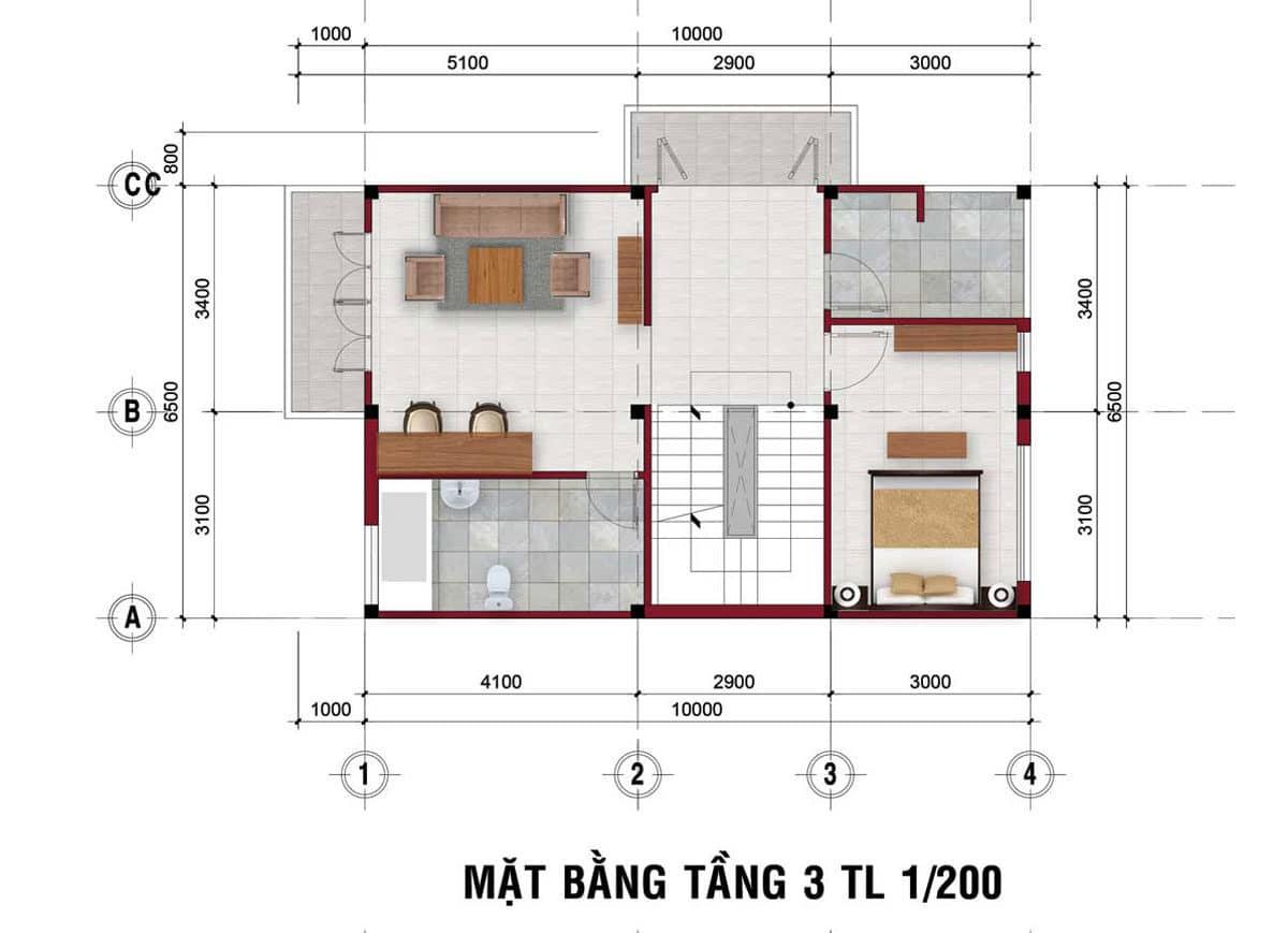 thiet ke tang 2 nha pho the residence 1 - DỰ ÁN RES 1 - THE RESIDENCE 1 VÕ VĂN BÍCH CỦ CHI
