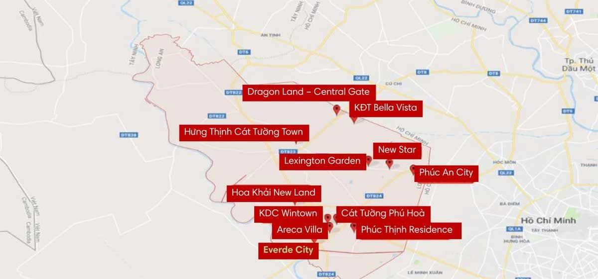 Bản đồ các dự án tại Huyện Đức Hoà - THỐNG KÊ CÁC DỰ ÁN ĐẤT NỀN TẠI LONG AN