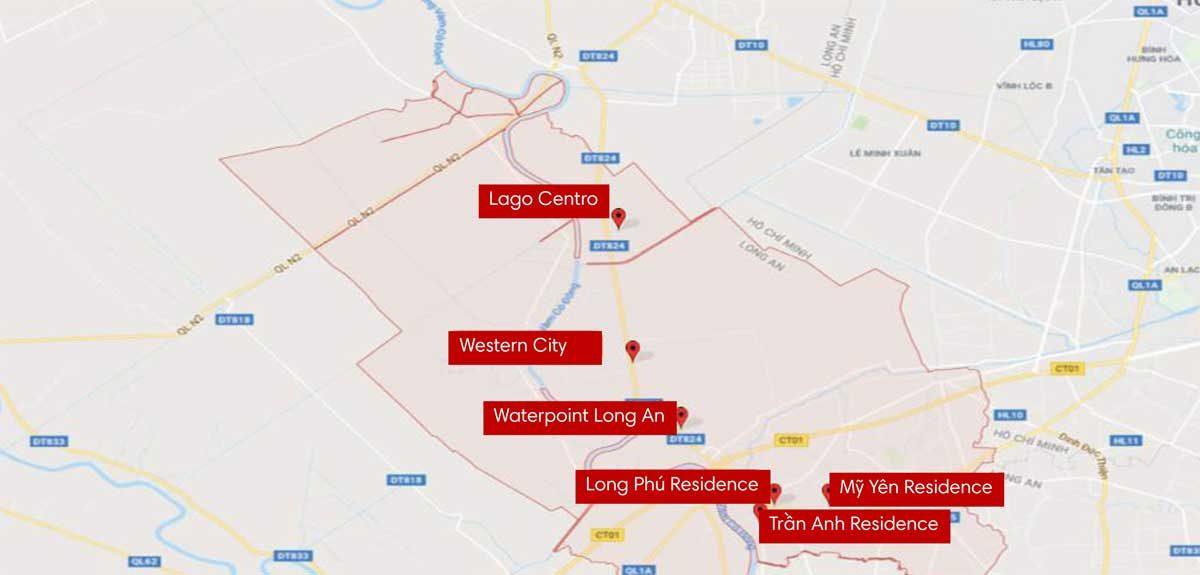 Bản đồ các dự án tại Huyện Bến Lức - THỐNG KÊ CÁC DỰ ÁN ĐẤT NỀN TẠI LONG AN