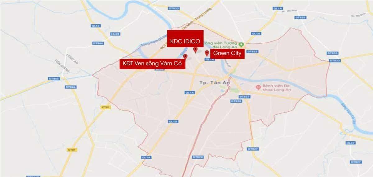 Bản đồ các dự án tại Huyện Tân An - THỐNG KÊ CÁC DỰ ÁN ĐẤT NỀN TẠI LONG AN