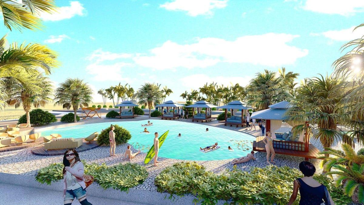 Hồ bơi khu công viên trong Dự án Khu đô thị Ocean Gate Bình Châu