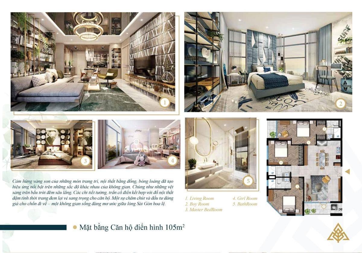 Mặt bằng căn hộ điển hình 105m2 - CĂN HỘ PARK LEGEND HOÀNG VĂN THỤ TÂN BÌNH