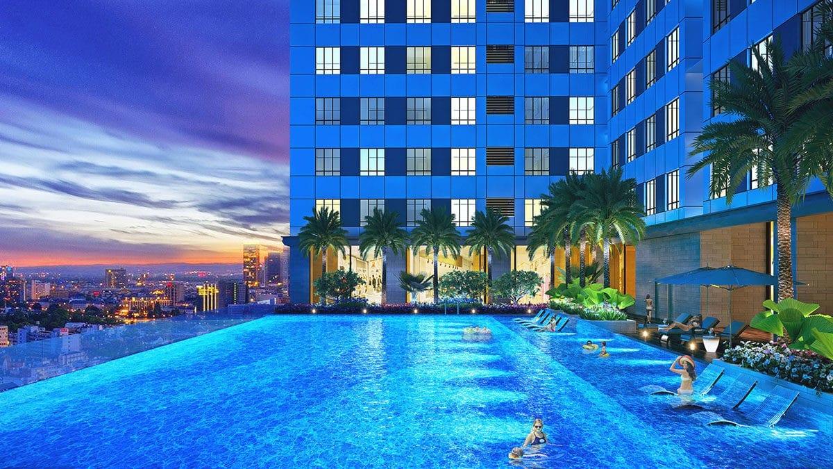 Hồ bơi tràn bờ tầng 7 Dự án Park Legend Tân Bình