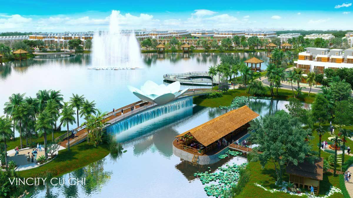 Hồ sinh thái rộng lớn tại nội khu Vincity Củ Chi