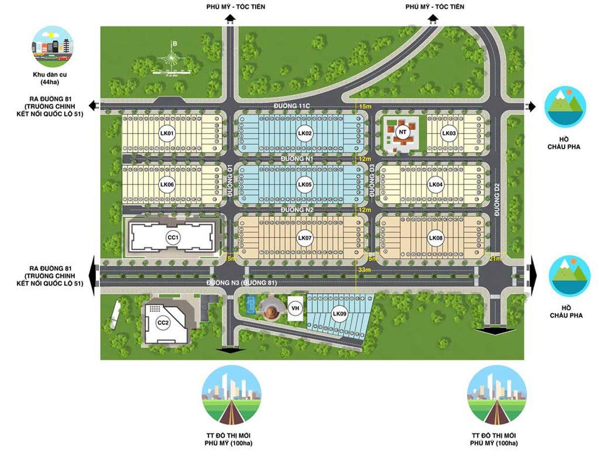 Mặt bằng phân lô Dự án Eco Town Phú Mỹ