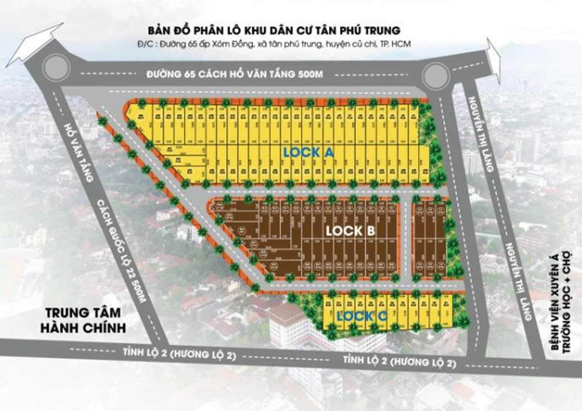 Mặt bằng phân lô Dự án Khu dân cư Tân Phú Trung Củ Chi