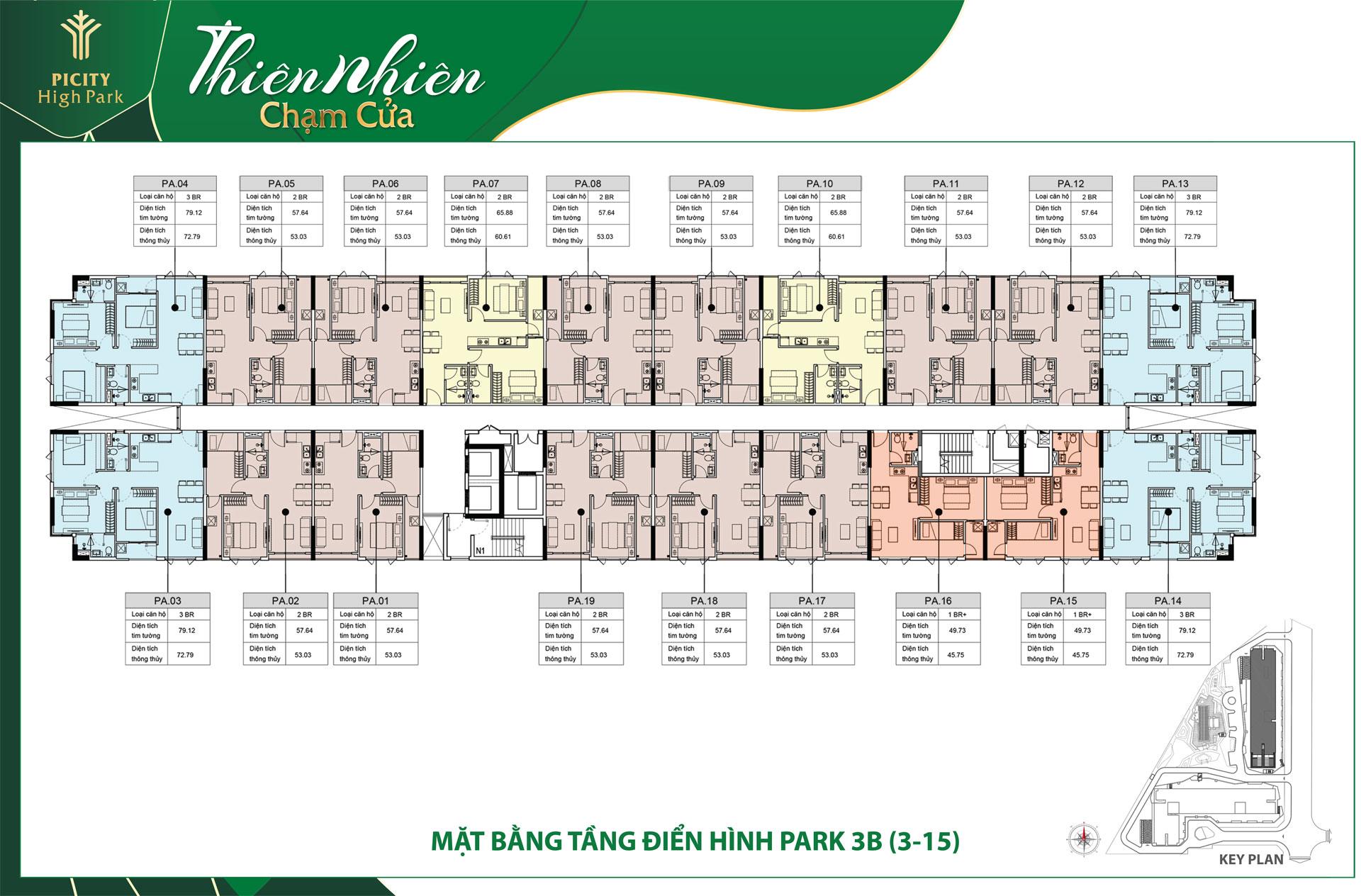 mat bang tang block park 3B picity high park - DỰ ÁN CĂN HỘ PICITY HIGH PARK THẠNH XUÂN QUẬN 12