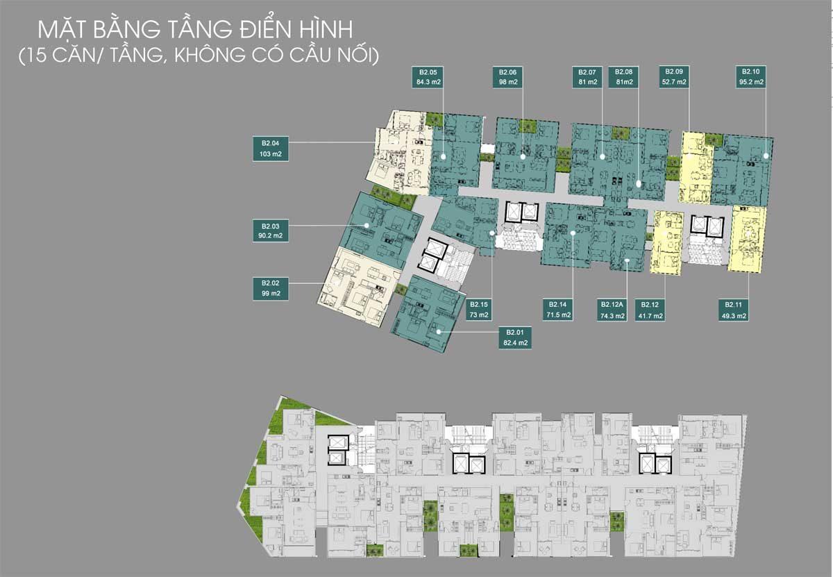 Mặt bằng tầng không có cầu nối Dự án Căn hộ Victoria Garden Bình Tân