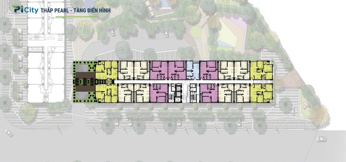 Mặt bằng tầng Tháp C4 - The Pearl Dự án Picity High Park Thạnh Xuân Quận 12