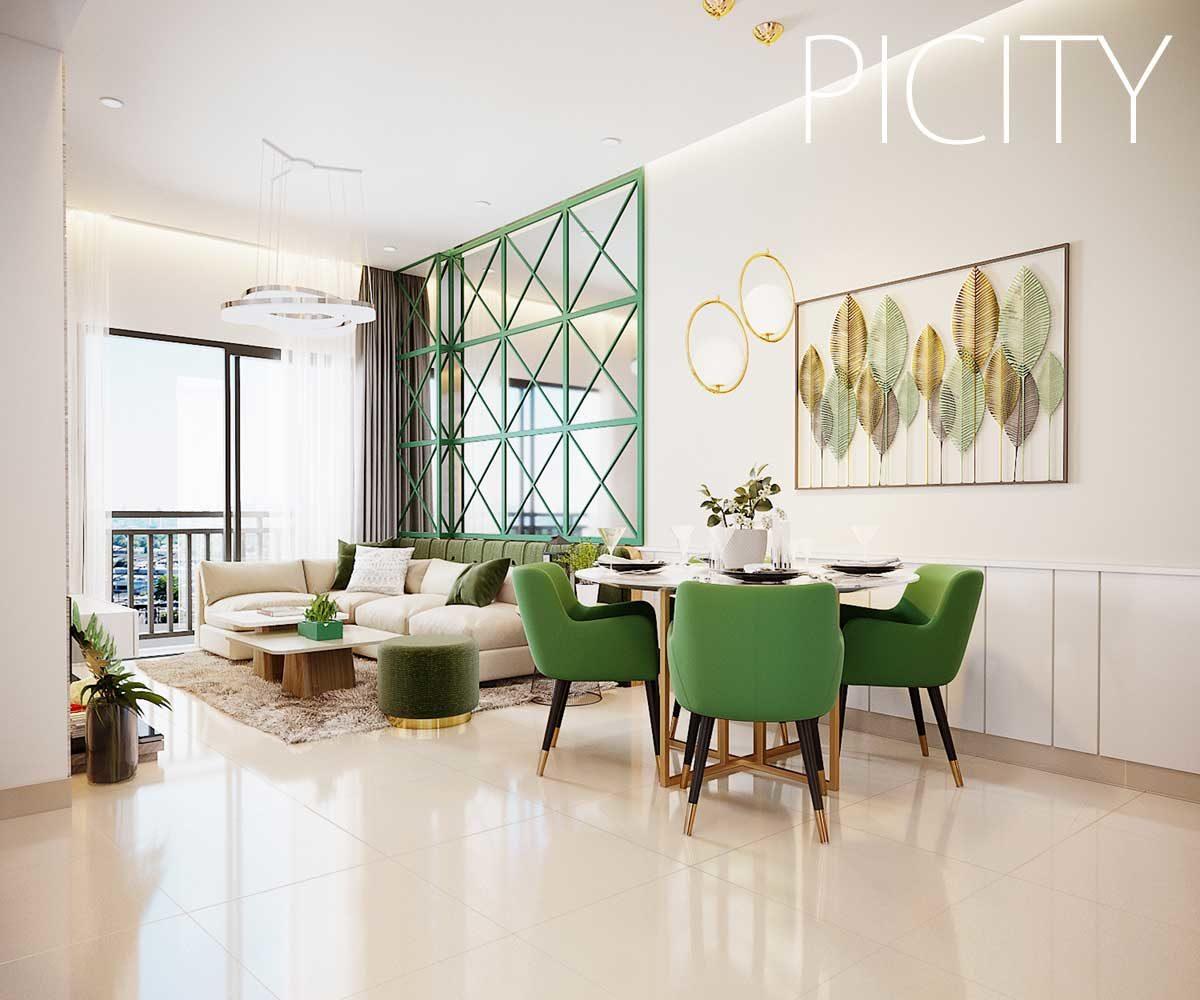 Phòng khách Căn hộ Pi City Thạnh Xuân