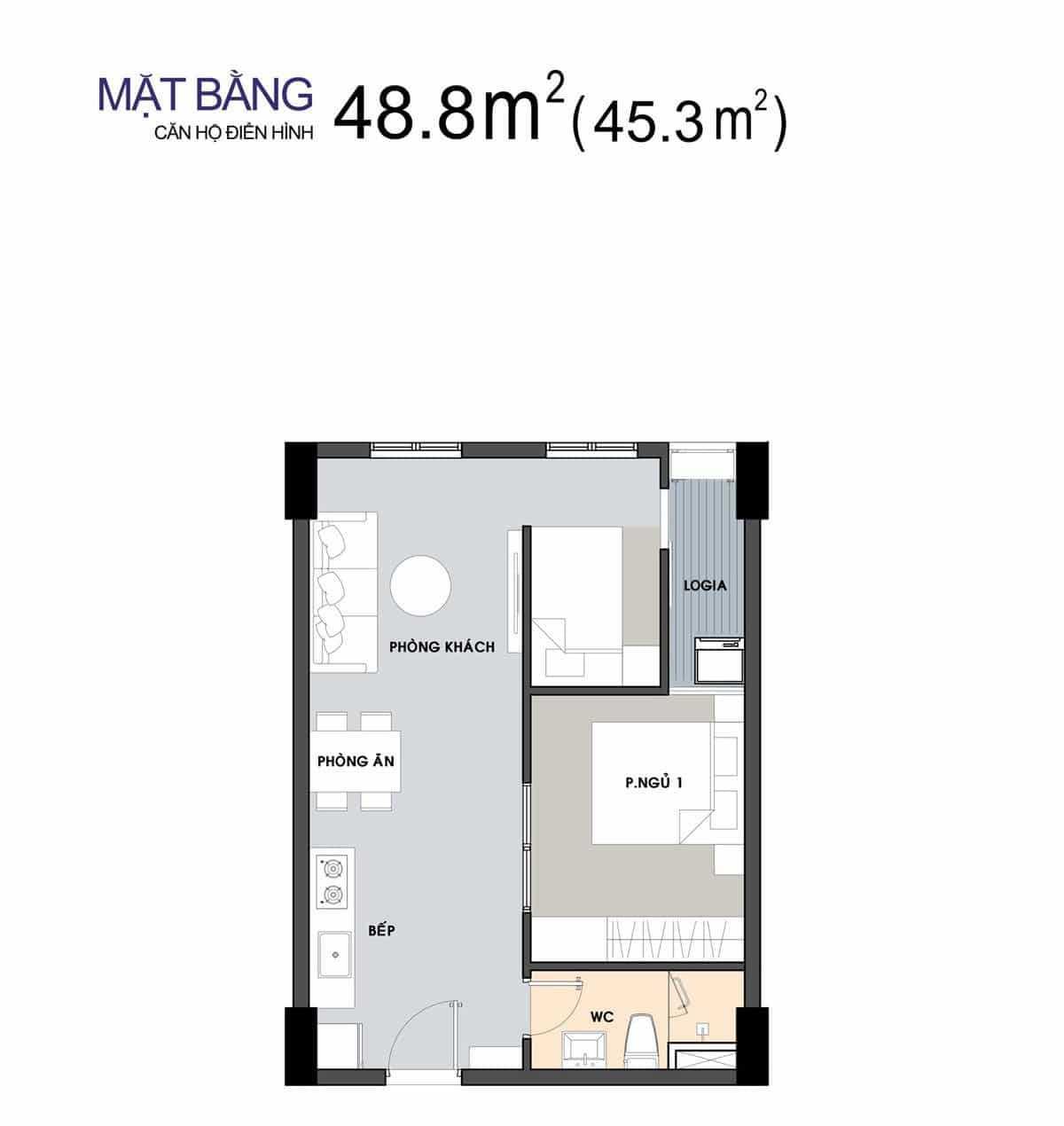 thiet ke can ho 488 m2 1 phong ngu picity 2020 - PICITY HIGH PARK QUẬN 12