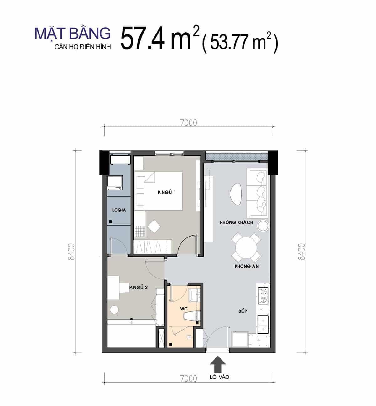 Thiết kế Căn hộ 2 Phòng ngủ 57,4m2 PiCity
