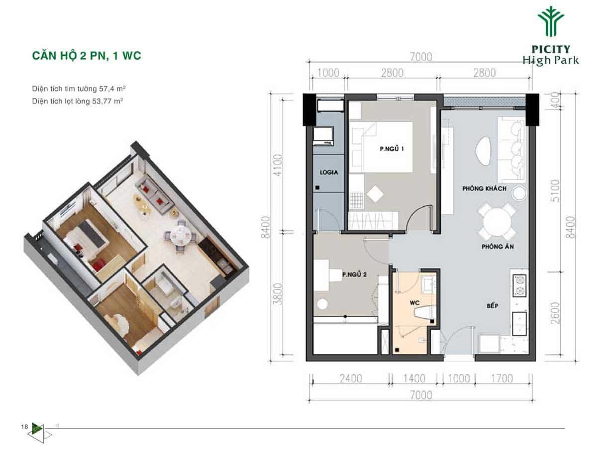 Bản thiết kế Căn hộ 57,4 m2 Picity High Park