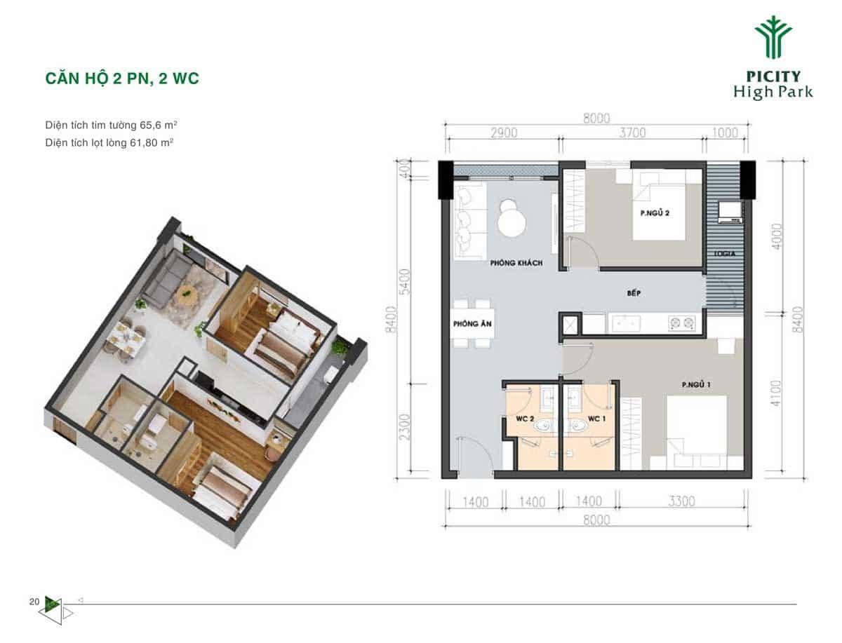 Bản thiết kế Căn hộ 65,6 m2 Picity High Park Quận 12