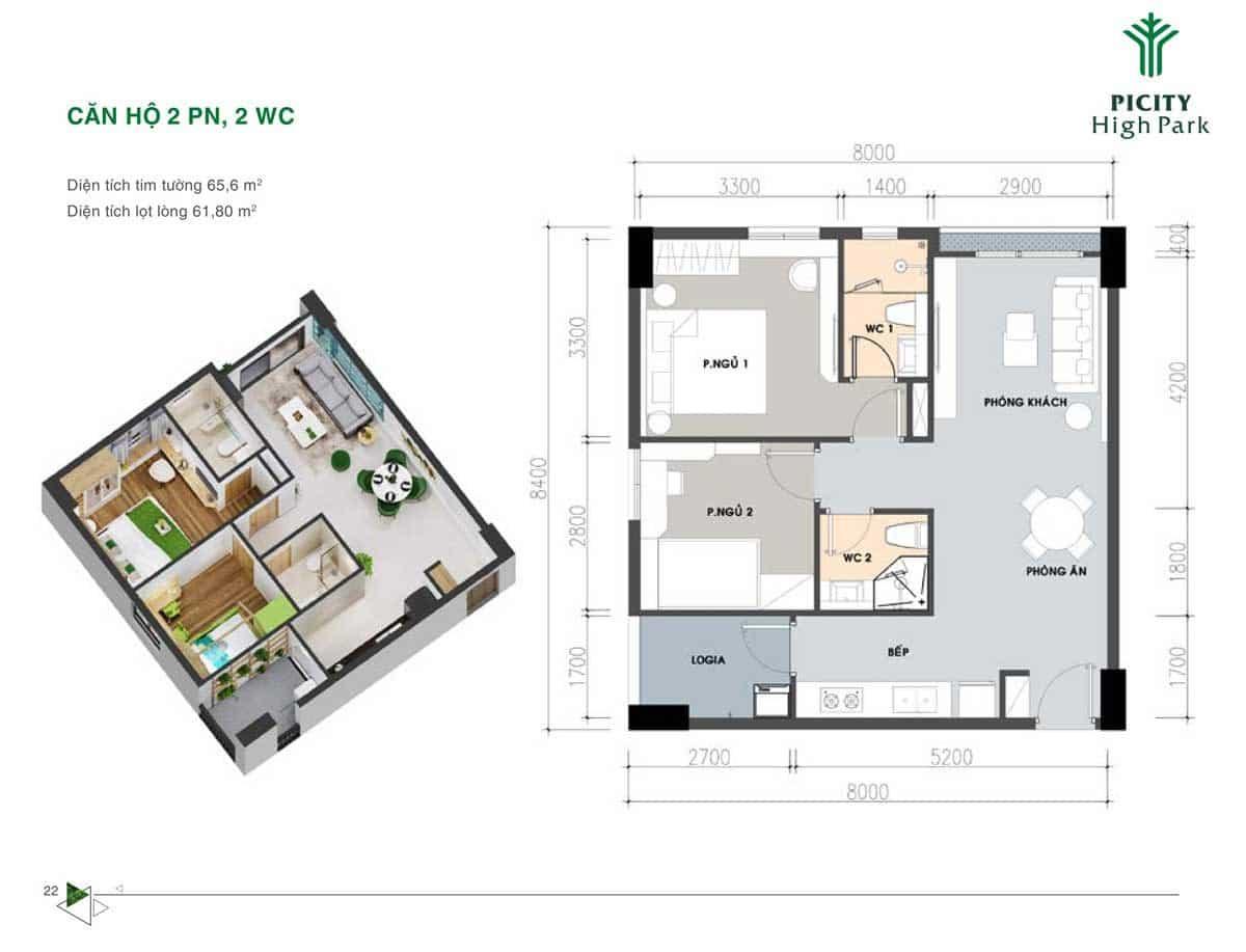 Bản thiết kế Căn hộ 65,6 m2 Picity High Park