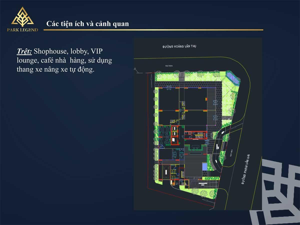 Tiện ích tầng Trệt Dự án Căn hộ Park Legend Tân Bình