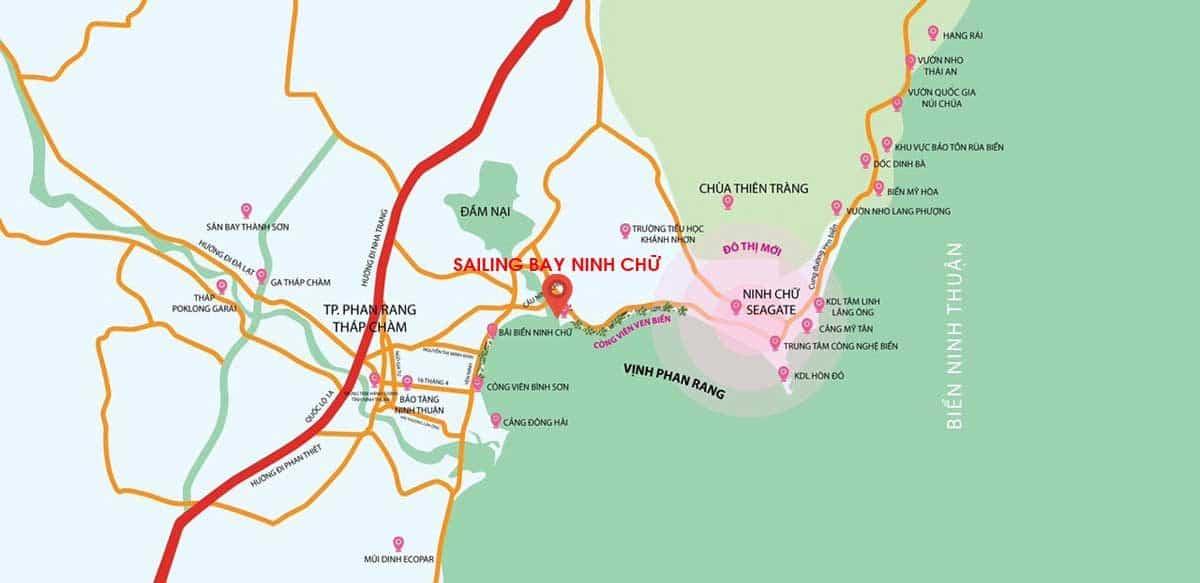 vi tri du an ninh tru sailing bay - DỰ ÁN CĂN HỘ NINH CHỮ SAILING BAY NINH THUẬN