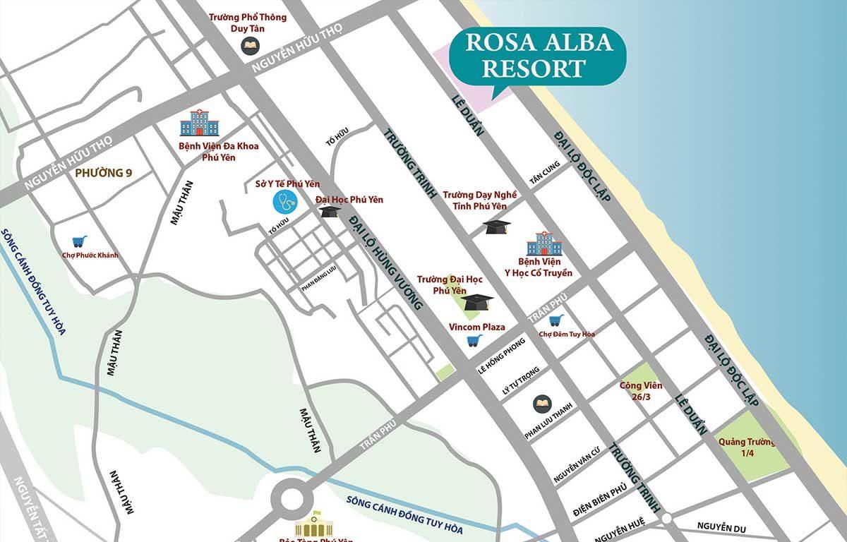 Vị trí Dự án Biệt thự Rosa Alba Resort Tuy Hòa Phú Yên