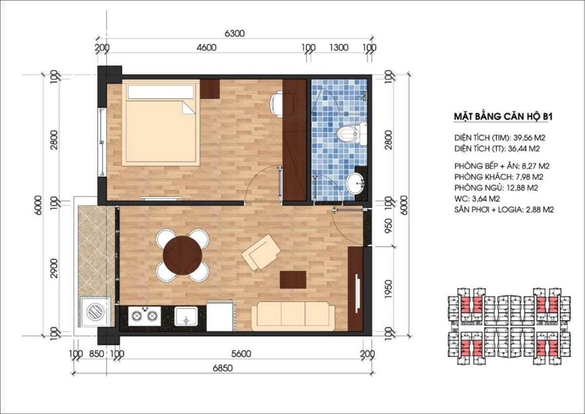 Căn hộ Unico Thăng Long diện tích 1 phòng ngủ