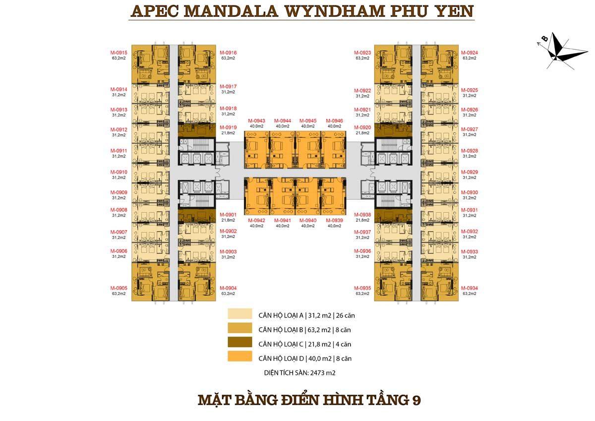 mat-bang-dien-hinh-tang-9-can-ho-apec-mandala-wyndham
