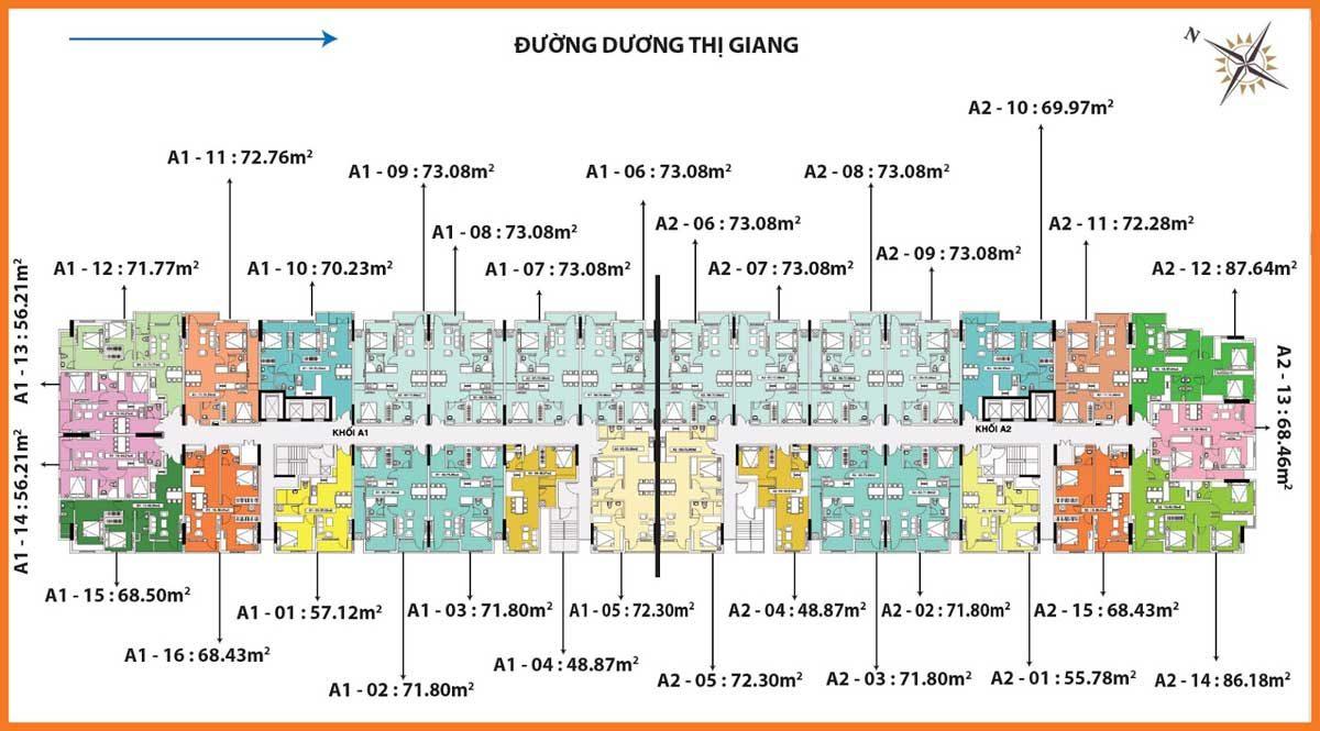Mặt bằng tầng Block A1-A2 Depot Metro Tower Tham Lương