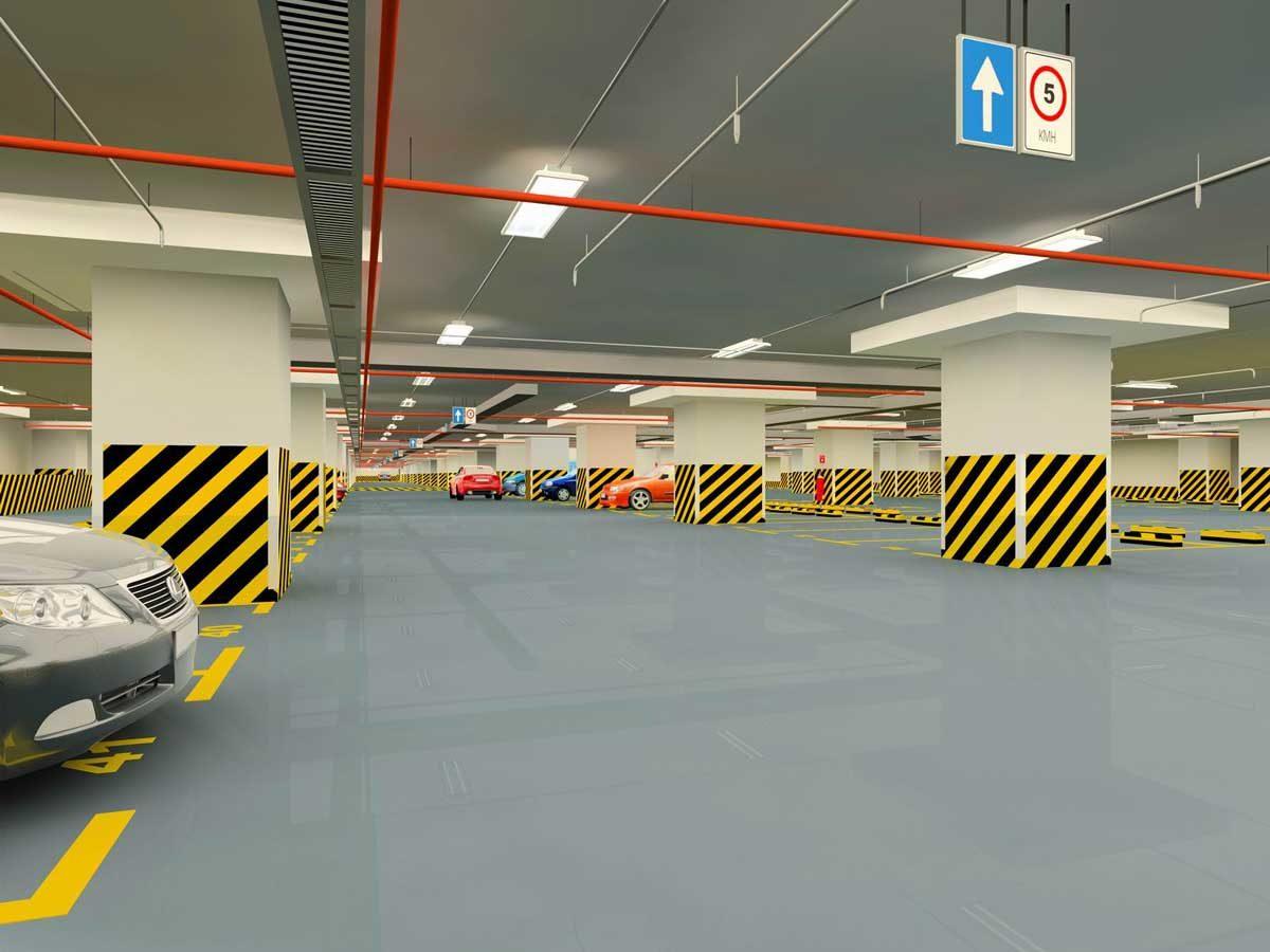 Khu vực Tầng hầm gửi xe Dự án Căn hộ Orchid Park Nhà Bè
