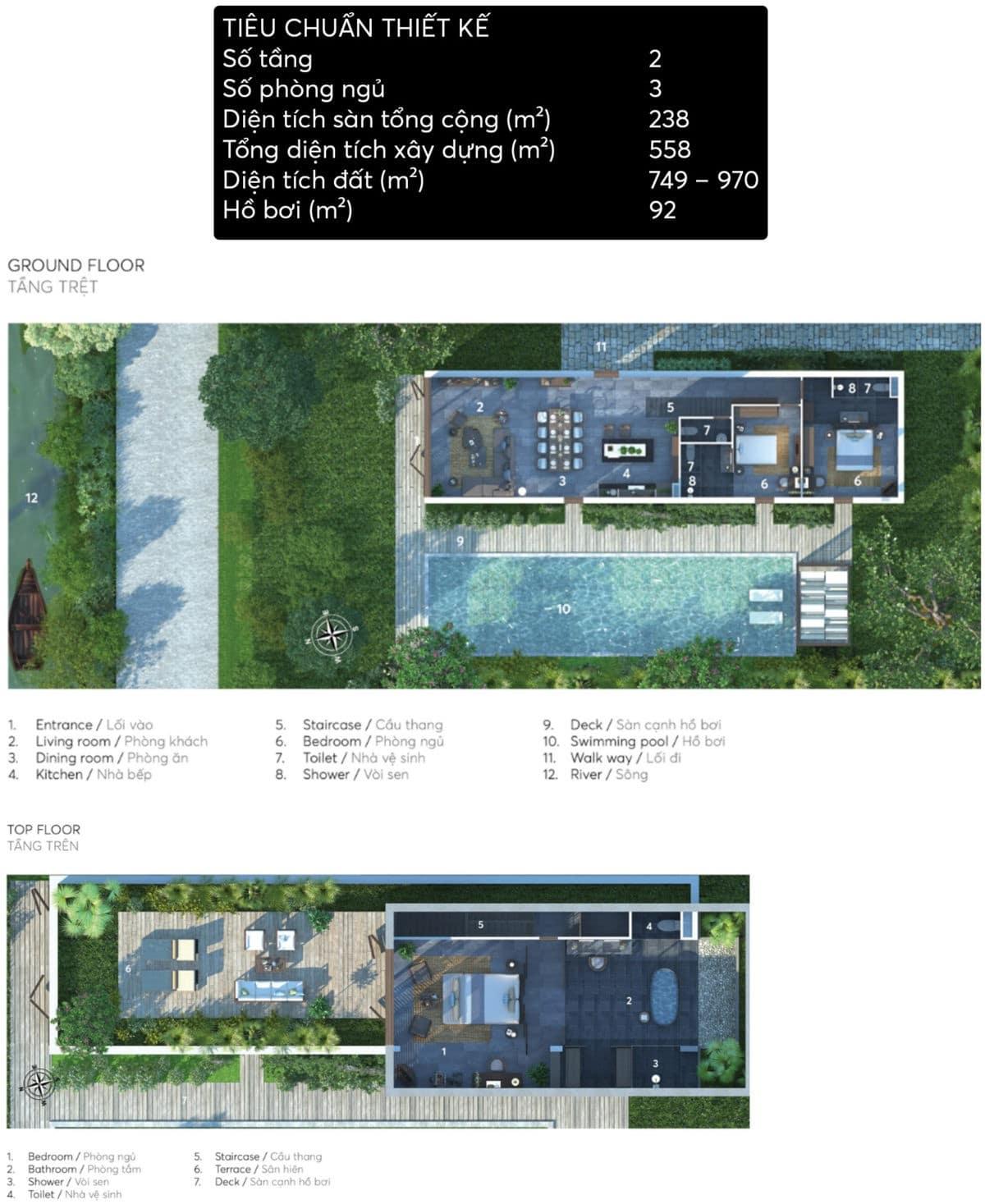 thiet ke biet thu Villa A - DỰ ÁN X2 HỘI AN RESORT & RESIDENCE