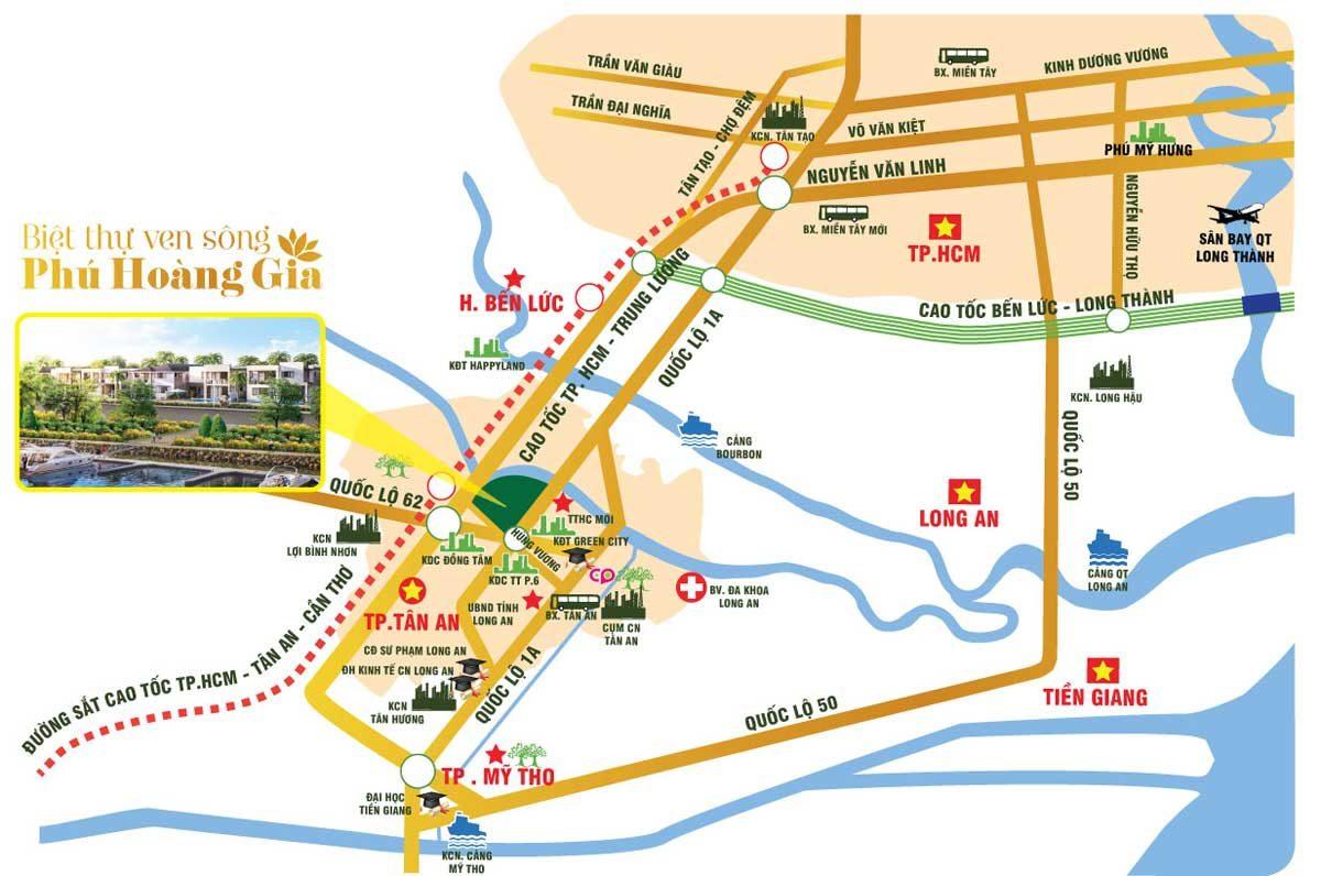 Vị trí Dự án Biệt thự ven sông Phú Hoàng Gia