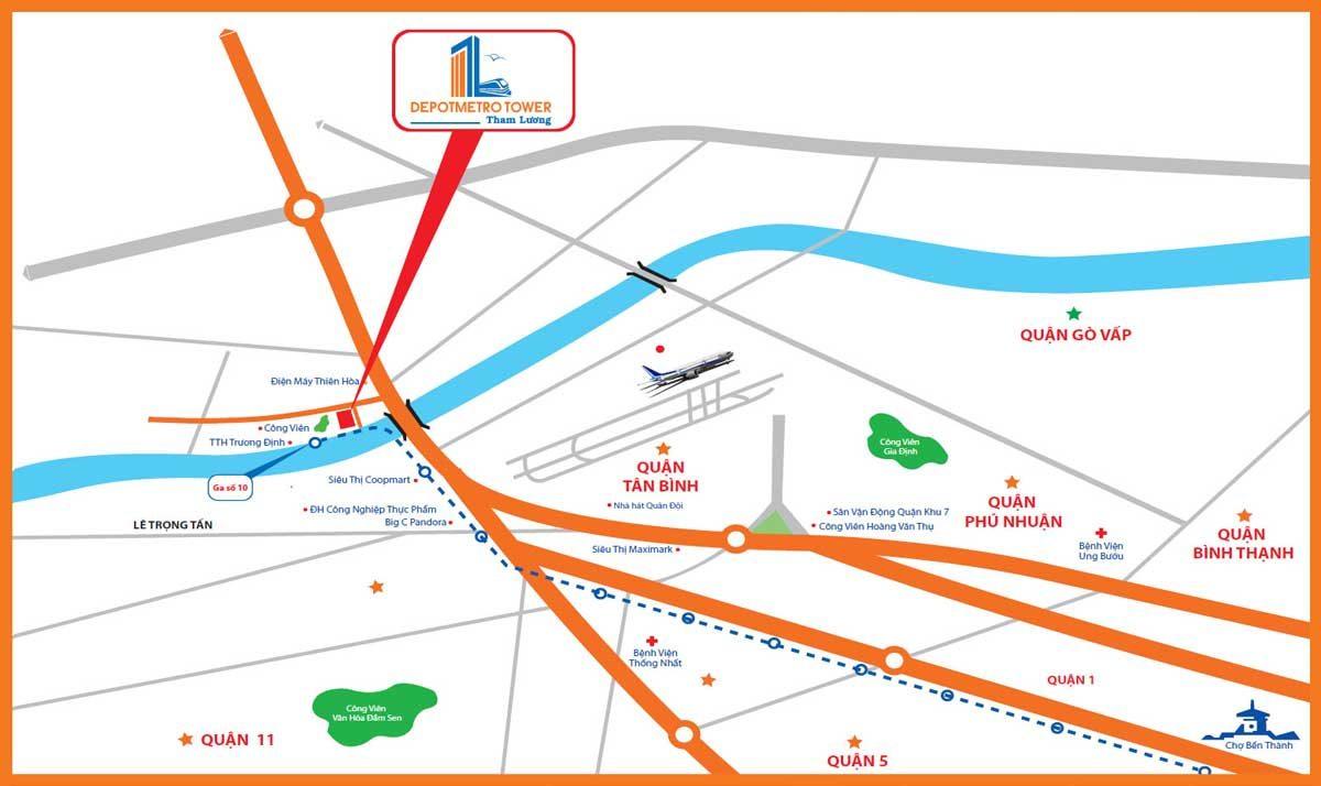 Vị trí Dự án Căn hộ Depot Metro Tower Tham Lương