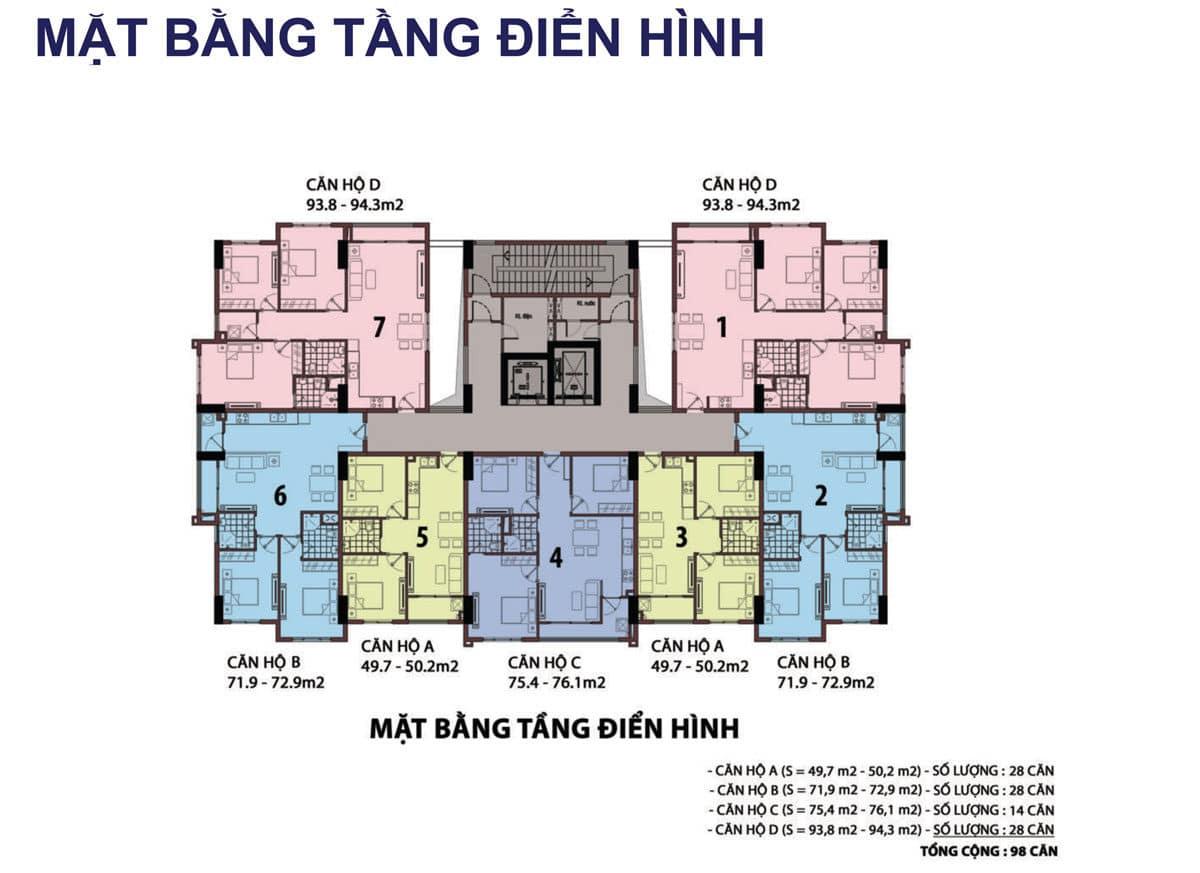 Mặt bằng tầng Dự án Căn hộ Raemian Đông Thuận Quận 12