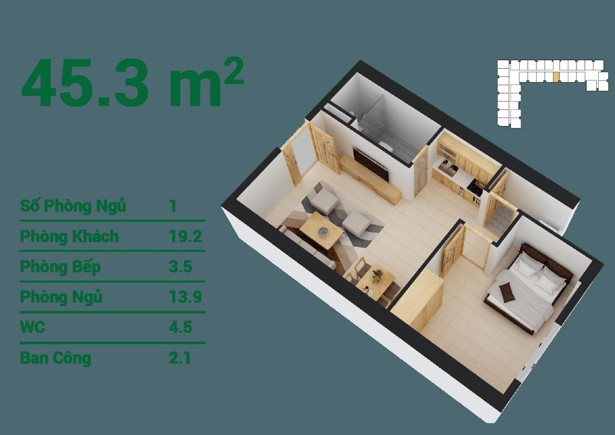 Thiết kế căn hộ 45,3m2