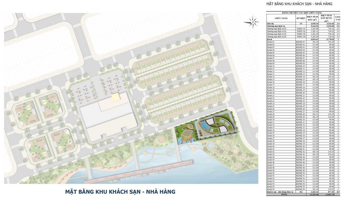 Mặt bằng Khu Nhà hàng - Khách sạn Bac LieuRiverside Commercial Zone
