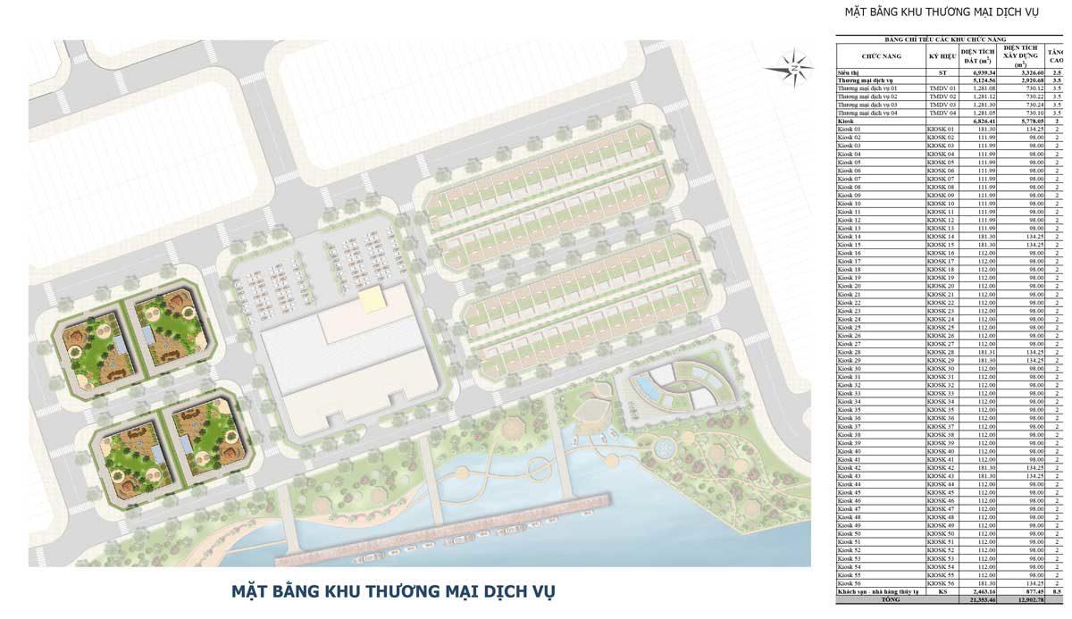 Mặt bằng Khu thương mại dịch vụ Dự án Bac LieuRiverside Commercial Zone