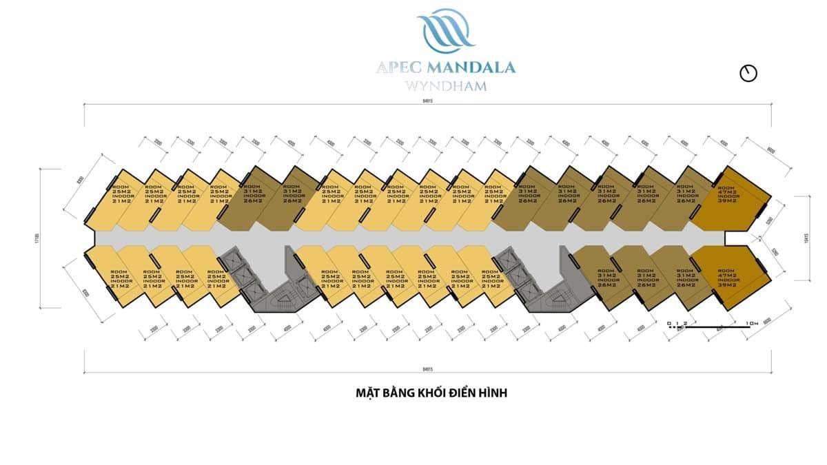 Mặt bằng khối điển hình Căn hộ Apec Mandala Wyndham Mũi Né