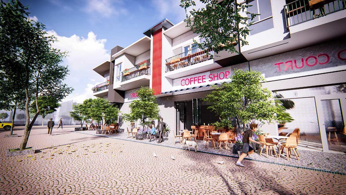 Phối cảnh Khu cửa hàng bán lẻDự án Bac LieuRiverside Commercial Zone