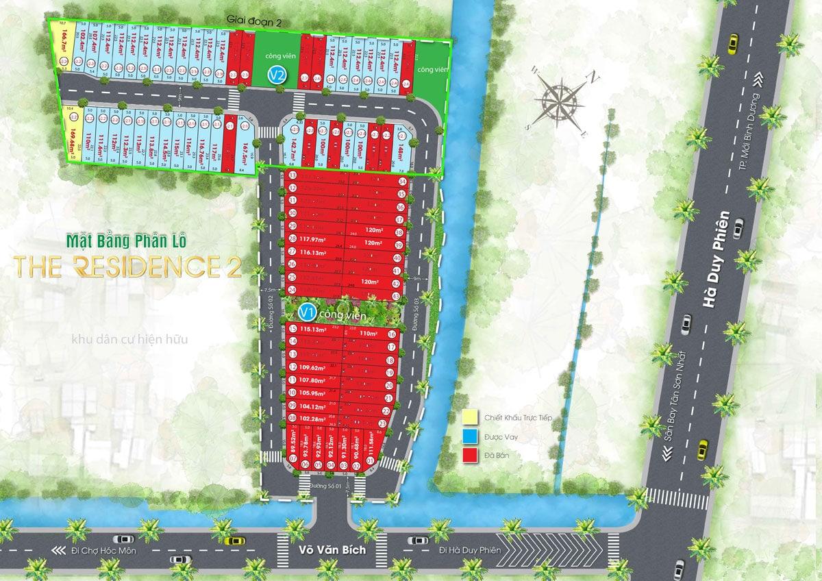 Mặt bằng phân lô dự án The Residence 2 - DỰ ÁN ĐẤT NỀN CỦ CHI MỞ BÁN TRONG NĂM 2020