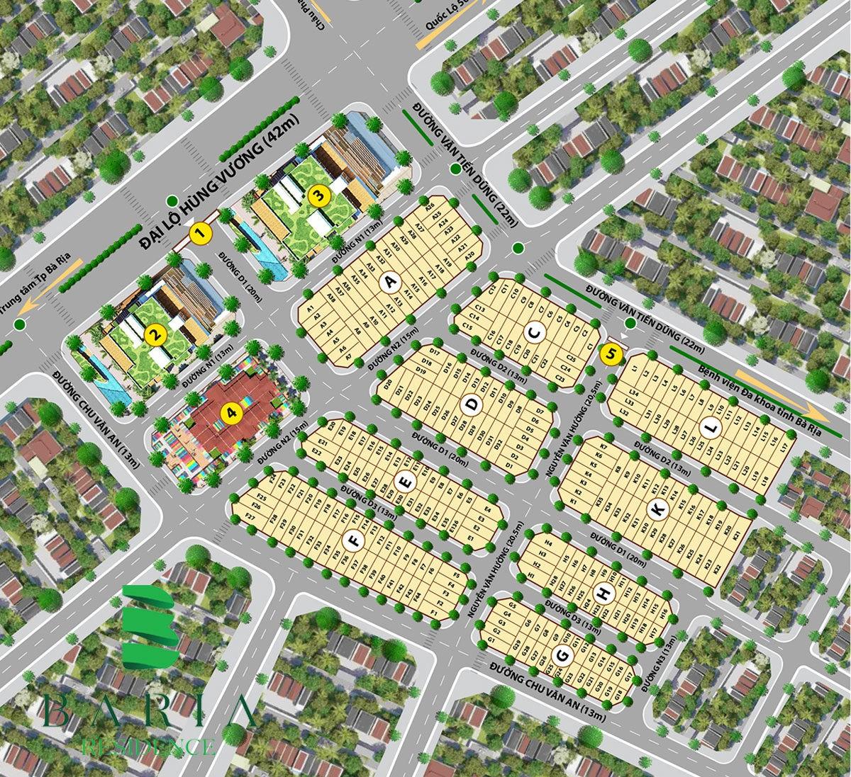 Mặt bằng phân lô Dự án Đất nền Baria Residence