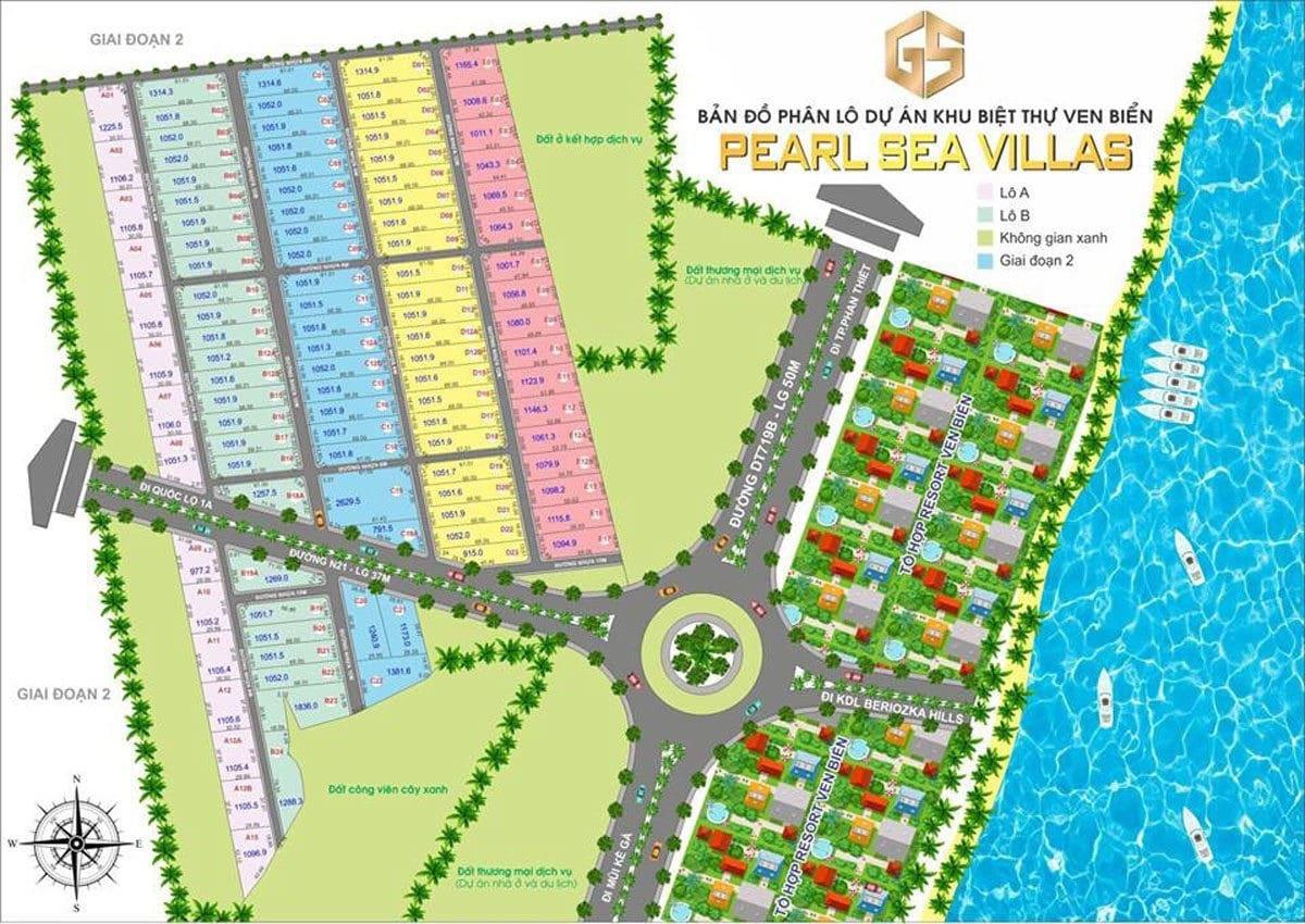 Mặt bằng phân lô Dự án Pearl Sea Villas
