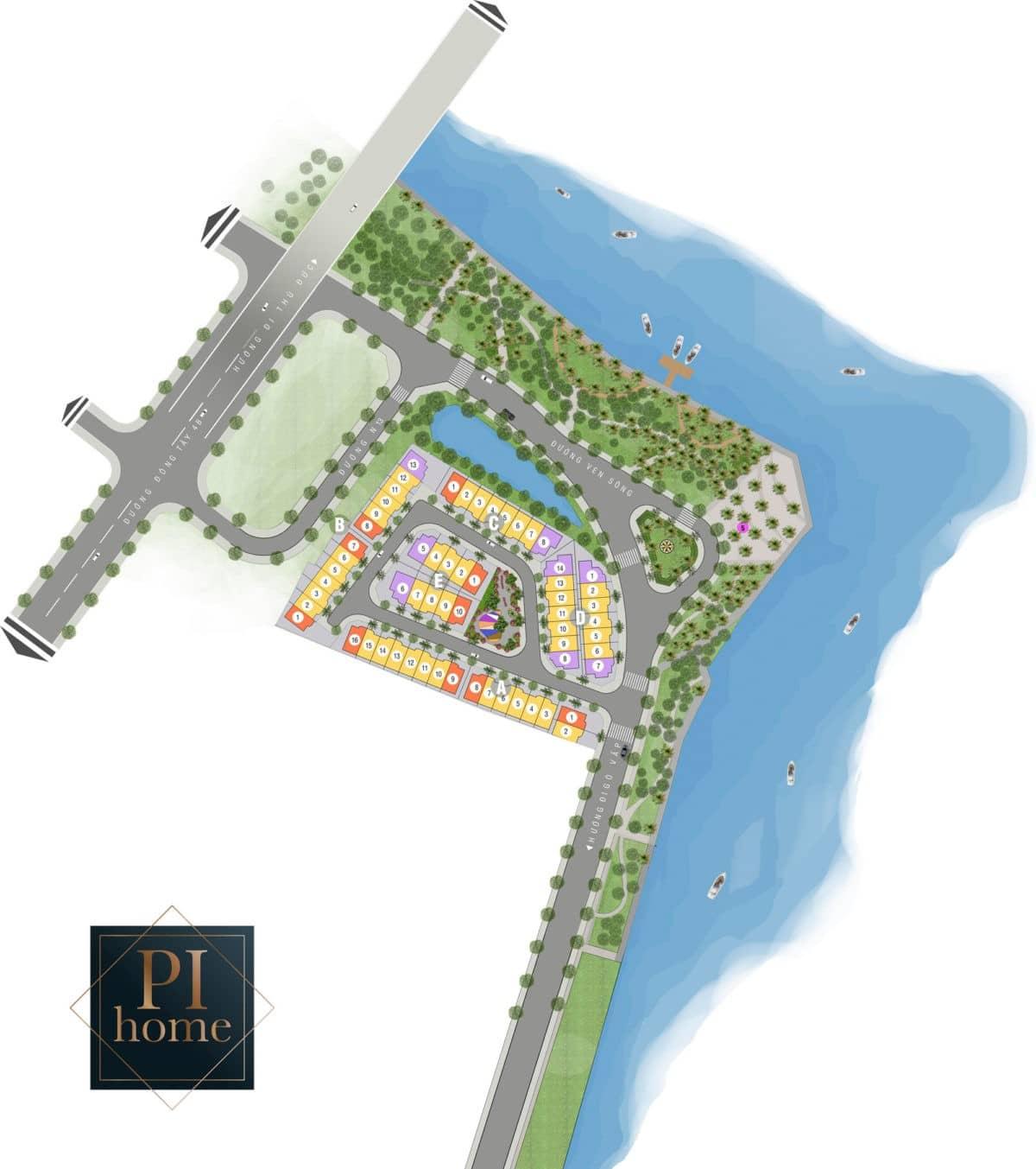 Mặt bằng phân lô Dự án Biệt thự Pi Home Quận 12