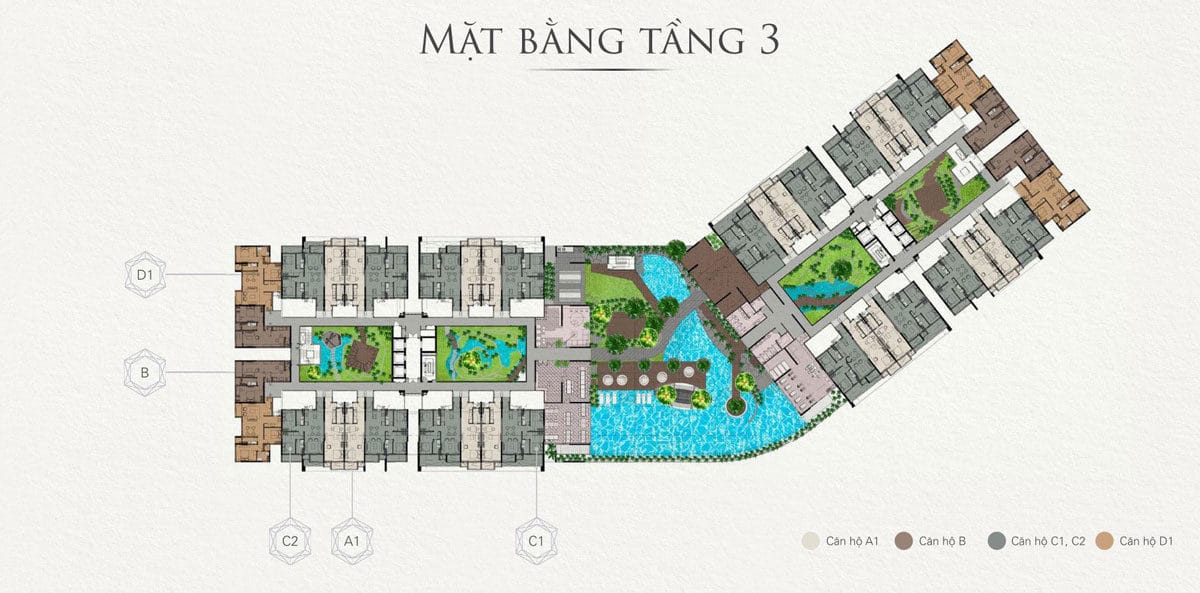 Mặt bằng tầng 3 Căn hộ Chung cư Topaz Twins Biên Hòa