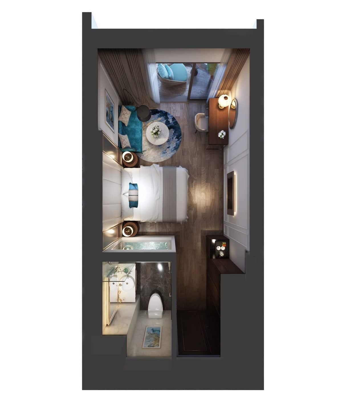 Phối cảnh 3D căn hộ 1 phòng ngủ Oyster Gành Hào