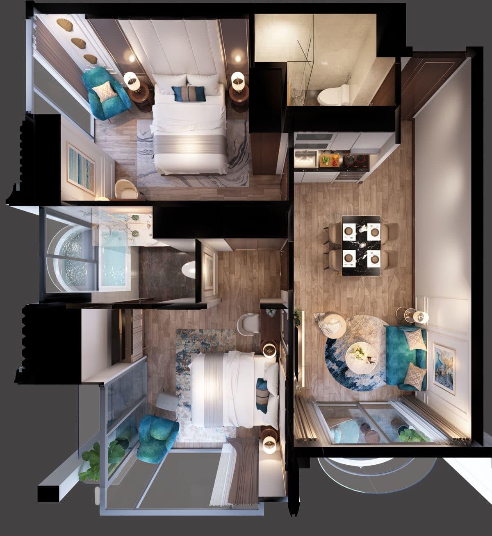 Phối cảnh 3D căn hộ 2 phòng ngủ Oyster Gành Hào